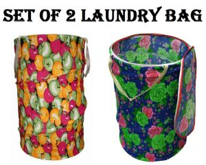 Buy Set Of 2 Multicolor Attractive Round Shape Foldable Laundry Bag online