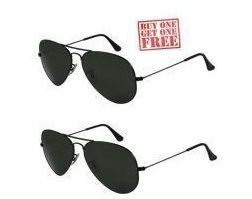 Buy Ksr Etrade Buy 1 Get 1 Free - Black Aviator Sunglasses online