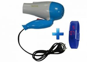 Buy Nova Foldable Hair Dryer Men & Women With LED Blue Digital Jelly Watch online