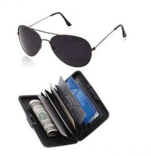 Buy Black Aviator Sunglasses & Aluminium Wallet Combo online