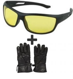 Buy Winter Fog Bikers Leather Motorcycle Riding Gloves With Bike Night Driving Glass online