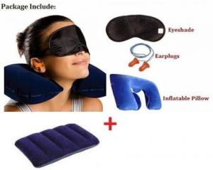 Buy Travelling Combo Of Travel Air Pillow, Neck Relax Pillow, Eye Mask And Ear Buds. online