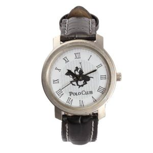 Buy Ustin Polo Club Round Leather Strap Formal Watch White Color online
