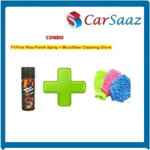 Buy F1/fms Wax Polish Spray For Leather/dashboard/plastic Microfiber Cleaning Glove online