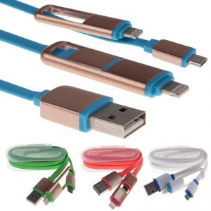 Buy 3ft 2 In 1 Micro USB Lightning Data Sync Charger Cable For iPhone Samsung online