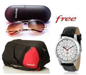 Buy Reebok Gym Duffle Bag And Reebok Sunglasses With Free Reebok Watch online
