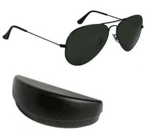 Buy Nau Nidh Black Mens Goggles Aviator Sunglasses With Hard Case online