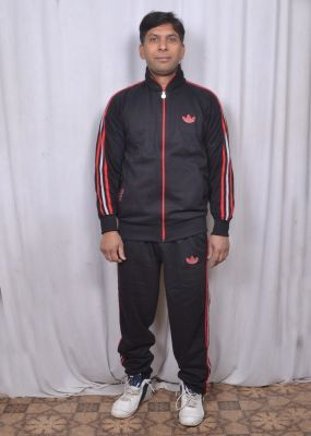 Buy Branded Adidas Black Track Suit With Attractive Blue Stripes For Men online