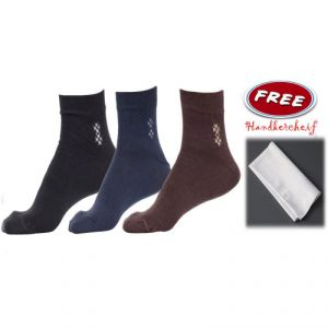 Buy Pack Of 3 Pairs Cotton Fit Socks Free Cotton Hankercheif online