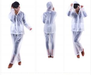 Buy Ladies Rain Breaker Transparent Raincoat For Rainy Season With Carry Pouch online