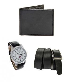 Buy Pack Of 3 Belt, Wrist Watch & Wallet online