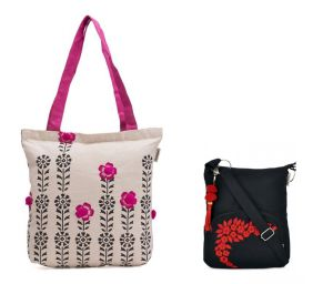 Buy Combo Of Pick Pocket Accrue Tote With Black Prints And Pompom Balls With Black Small Sling Bag online