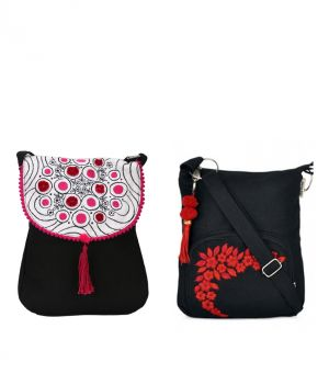 Buy Combo Of Pick Pocket Black Sling Pink Embroidery With Black Small Sling Bag online