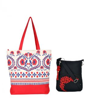 Buy Combo Of Pick Pocket Red And White Floral Tote With Black Small Sling Bag online