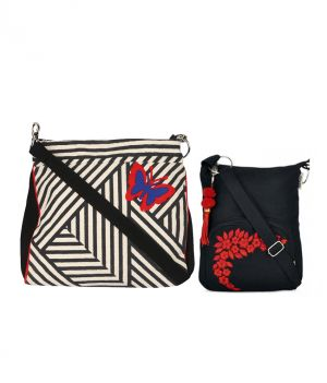 Buy Combo Of Pick Pocket B&w Stripe Crossbody Sling With Black Small Sling Bag online