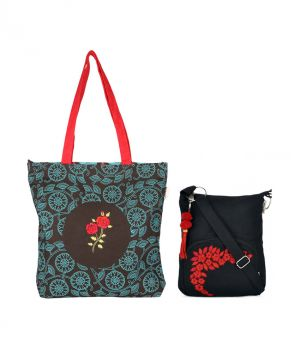 Buy Combo Of Pick Pocket Rama Roase Embrodiered Shopper Bag With Black Small Sling Bag online