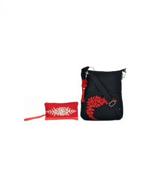 Buy Combo Of Pick Pocket Spring Squined Wristlet With Black Small Sling Bag online