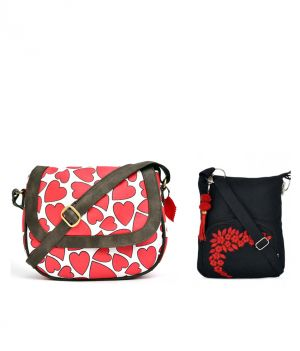 Buy Combo Of Pick Pocket Heart Printed Cross Body Canvas Pu Sling With Black Small Sling Bag online