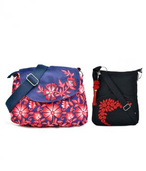Buy Combo Of Pick Pocket Denim With Red Floral Print Side Sling With Black Small Side Bag. online