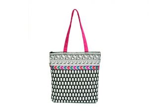 Buy Pick Pocket Black And White Printed Tote With Multi Colored Lace online
