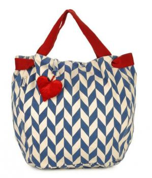 Buy Pick Pocket Canvas Ecru with blue prints and heart shaped tassel Hand Bag online