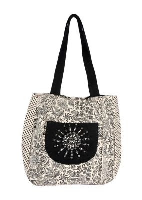 Buy Pick Pocket Canvas Accrue Jholi Bag With Hand Embroidered Patch. online