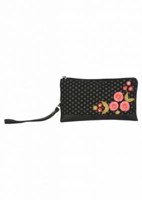 Buy Pick Pocket Canvas Hand Bags Black Clutch With Polka Dot Embrodiery online