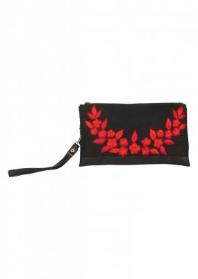 Buy Pick Pocket Canvas Black Clutch With Embrodiery online