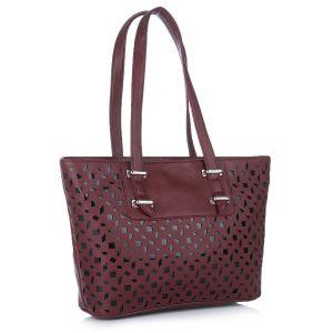 Buy Fostelo Melisa Lasercut Maroon Handbag online