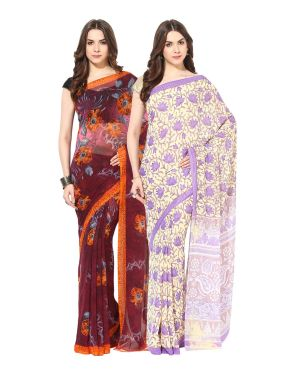 Buy Fostelo Bollywood Designer Maroon & Cream/purple Saree (pack Of 2) online