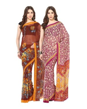 Buy Fostelo Bollywood Designer Brown & Pink Saree (pack Of 2) online