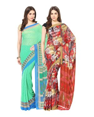Buy Fostelo Bollywood Designer Green & Red Saree (pack Of 2) online