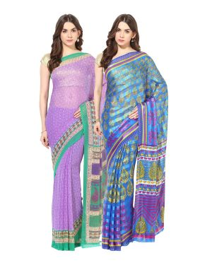 Buy Fostelo Bollywood Designer Purple & Blue Saree (pack Of 2) online