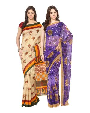 Buy Fostelo Bollywood Designer Beige & Purple Saree (pack Of 2) online