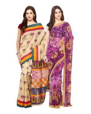Buy Fostelo Bollywood Designer Beige & Purple Saree(pack Of 2) online