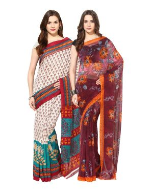 Buy Fostelo Bollywood Designer Multi Color & Maroon Saree(pack Of 2) online
