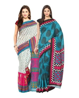 Buy Fostelo Bollywood Designer Multi Color & Blue Saree (pack Of 2) online