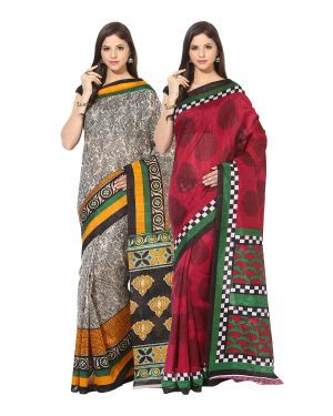 Buy Fostelo Bollywood Designer Beige & Pink Saree (pack Of 2) online