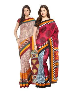 Buy Fostelo Bollywood Designer Beige & Green Saree (pack Of 2) Npcs-29-67 online