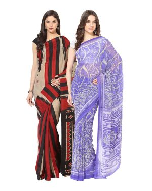 Buy Fostelo Bollywood Designer Mutlicolor & Purple Saree (pack Of 2) online