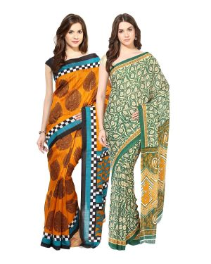 Buy Fostelo Bollywood Designer Mustard & Green Saree (pack Of 2) online