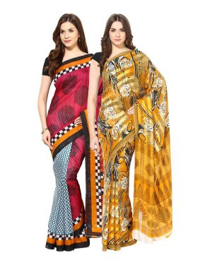 Buy Fostelo Bollywood Designer Green & Yellow Saree (pack Of 2) online
