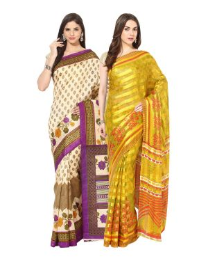 Buy Fostelo Bollywood Designer Beige & Yellow Saree (pack Of 2) online