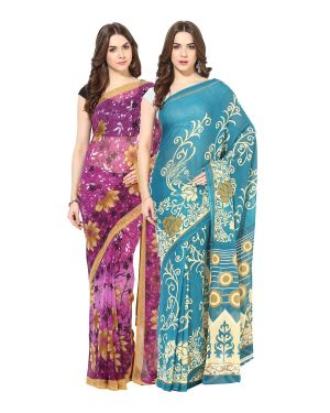 Buy Fostelo Bollywood Designer Pink & Cream/green Saree (pack Of 2) online