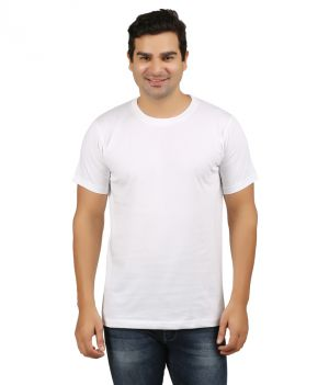 Buy Aalryt White Solid Round Neck T-shirt online