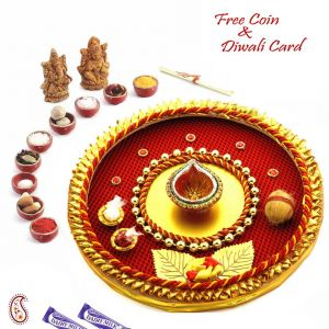 Buy Sparkling Red & Yellow Pooja Thali online