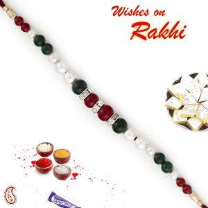 Buy Aapno Rajasthan Fabulous Green & Maroon Beads Bracelet Style Rakhi With Pearl & Ad - Br17583 online