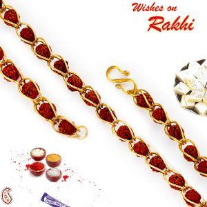 Buy Aapno Rajasthan Multi Rudraksh Embellished Bracelet Rakhi - Br17590 online