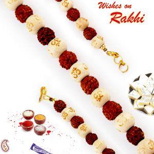 Buy Rakhi For Abroad_aapno Rajasthan Om Beads & Rudraksh Bracelet Rakhi - Int_br17594 online