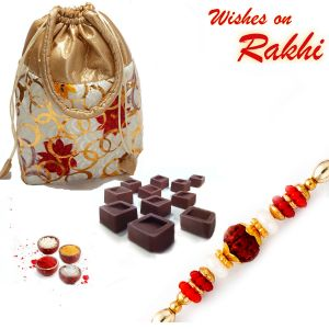 Buy Multicolor Pouch With Home Made Chocolates And Rakhi - Cho1723 online